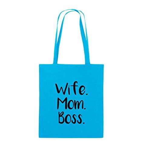 Comedy Bags - Wife Mom Boss - Jutebeutel - lange Henkel - 38x42cm - Farbe: Schwarz / Silber Hellblau / Schwarz