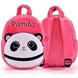BRIJ Bags Panda Kids School Bag Soft Plush Backpacks Bag Pink Cartoon Baby Boy/Girl (2-5 Years) (Light Pink)