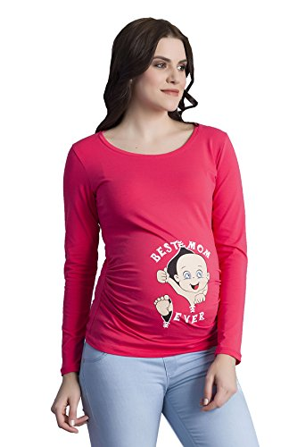 Verkauft von MamiMode Best Mom Ever - Witzige Süße Umstandsmode T-Shirt mit Motiv Schwangerschaft, Langarm (Large, Koralle) (Rote Koralle Rau)