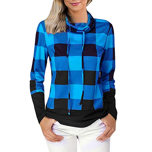 QUINTRA Frauen Cowl Neck Plaid Pullover Sweatshirts Stitching Farbe Bluse Tops