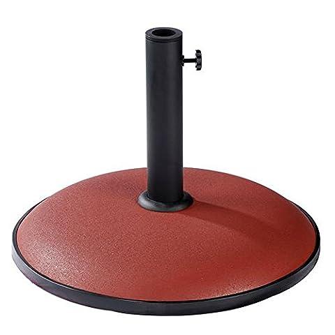 BillyOh 15Kg Adaptable Pole Holder Concrete Red Garden Parasol Base, Fits most Garden Furniture