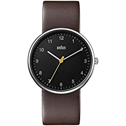 Braun Men's Quartz Watch with Black Dial Analogue Display and Brown Leather Strap BN0231BKBRGAL
