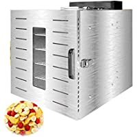 Deshidratador de frutas, temperatura del cuerpo de acero inoxidable de 39 a 90 ° C y secador para frutas secas frescas y secas. Secador de frutas de tamaño mediano para el hogar de rejilla de 6 capas.