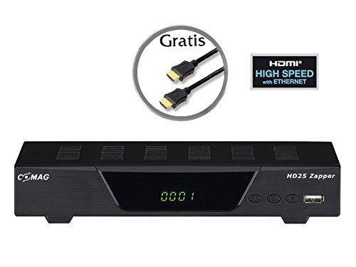 COMAG 11106 HD25 Zapper Satelliten-Receiver (Full HD, HDTV USB 2.0, HDMI, SCART, optischer digitaler Tonausgang) inkl. High Speed HDMI Kabel schwarz