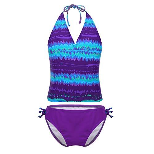 IEFIEL Traje de Baño para Niñas Dos Piezas Bañador Estampado Bikini Conjunto Tankaini Cuello Halter...