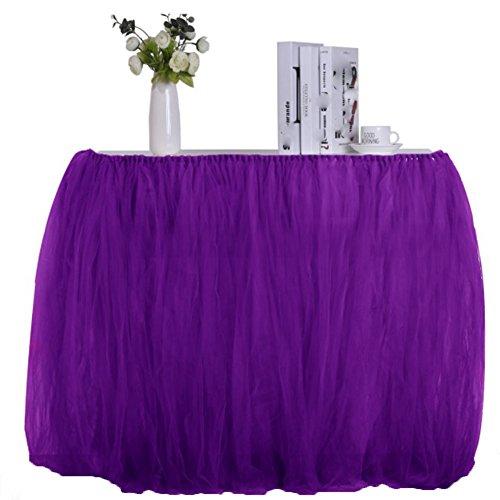 RANRANHOME Flauschiger Tisch Rock Geburtstagsparty Hochzeit Tischdecke Tisch,Purple -