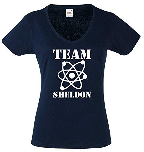 world-of-shirt Damen T-Shirt The Big Bang Theory Team Sheldon Navy