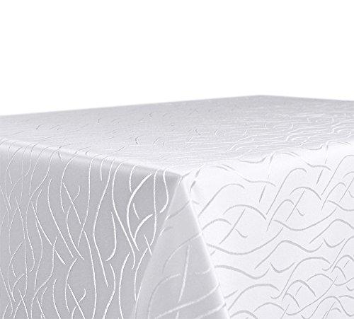 Tischdecke, FARBE wählbar, Streifen Damast Textil, Bügelfrei, Eckig 130x220 cm, Weiß