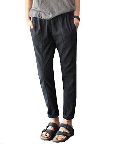 Bigood Femme Mince Lâche Pantalon Longue Harlan Confortable Vogue Noir