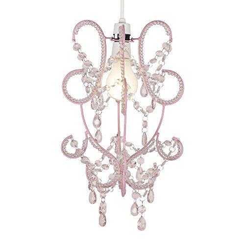 """Majestätischer, moderner und eleganter Lampenschirm mit rosafarbigem Rahmen und rosafarbigen Perlen aus Acryl im """"Shabby Chic"""" Stil - für Hänge- und Pendelleuchte/Kronleuchter"""