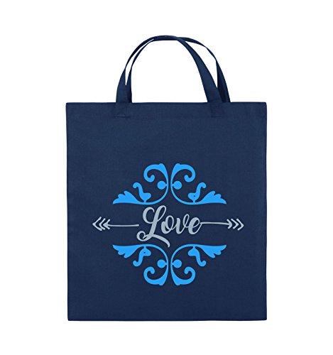 Comedy Bags - Love Ornament - Jutebeutel - kurze Henkel - 38x42cm - Farbe: Schwarz / Weiss-Neongrün Navy / Eisblau-Hellblau