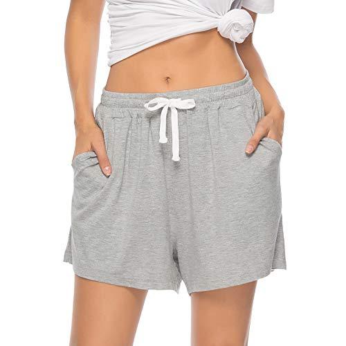 6a030e5b7d2966 Vlazom Women's Pajama Bottoms Cotton Shorts Sleepwear Lounge Pants with  Pockets Drawstring