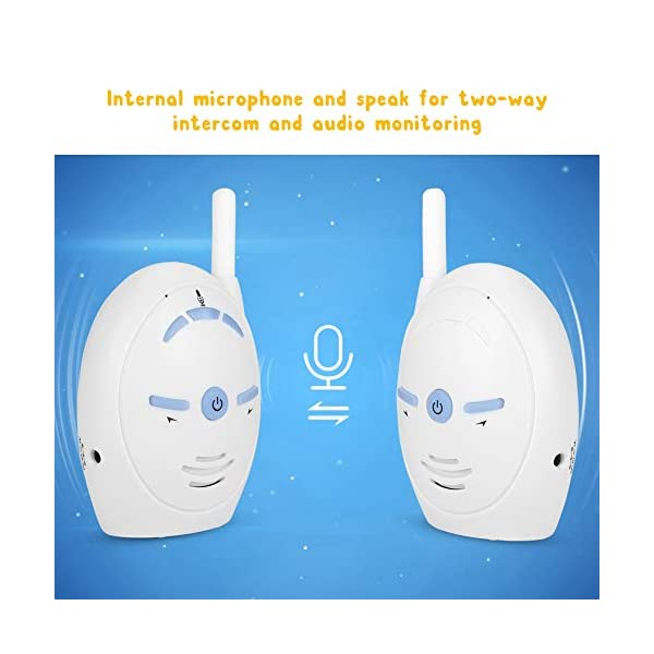 2.4GHz Wireless Video Baby Monitor, anny Intercom Camera Electronic Alarm with Two-Way Audio for Baby(1#) Sonew ★ 2.4GHz wireless digital transmission with stable transmission signal. Internal microphone and speak for two-way talk and audio monitoring. ★ High sensitivity, allows baby's crying to be easily heard with light open to inform parents. Easy to be matched, plug and play. ★ Supports data encryption and volume adjustment. Open space transmission range up to 250M.   5