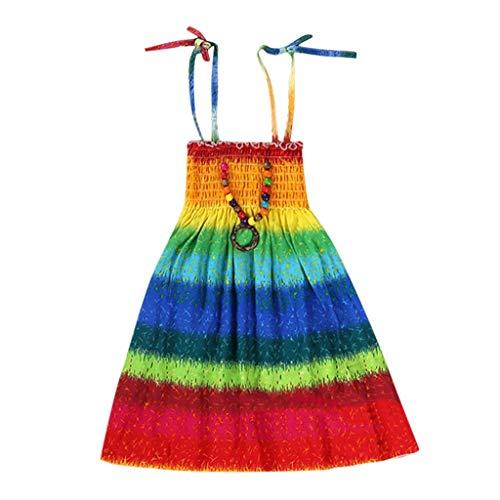 ermädchenbaby-Kleidungs-Nationale Art mit Blumenböhmisches Strandgurt-Kleid (Mehrfarbig,110) ()