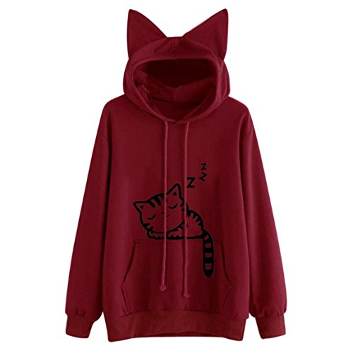 Moonuy Frauen Langarmshirts Pullover, Damen Katze Langarm Kapuzenpulli Kapuzenpulli Kapuzenjacke Winterjacke Pullover Baumwollspandex Tops Tierdruck Bluse Fashion New Style Sweatshirt (XL, Rot 2) (Gap Langarm-bluse)
