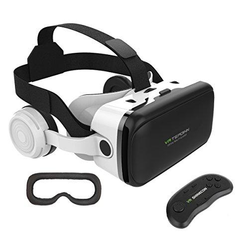Tepoinn 3d vr occhiali, visori realtà virtuale occhiali virtuali 3d vr virtuale realta auricolare con telecomando bluetooth compatibile con iphone android smartphones da 4 a 6 pollici per 3d giochi film