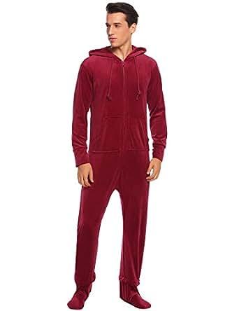Ekouaer mens coral fleece onesie long sleeve hooded footed for Mens dress shirt onesie