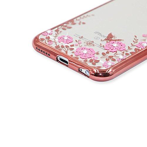 iPhone 6S Hülle Transparent Schutz Case,iPhone 6 Weiches Silikon Klar Dünn Gummi Durchsichtig Mit Strass Diamant Glitzer Bling Tasche Schutzhülle,Herzzer Flexibel Luxuriös (Gold) Galvanisieren Plated  Rose Gold Bumper:Rosa Blumen