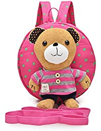 jysport infantil escuela bolsa arnés de seguridad bebé mochila Sidekick Mochila Niños Bolsa de hombro con desmontable suave peluche de juguete, Striped Bear Rose