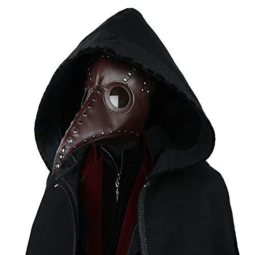 Gothic Herren Damen Mode PU Leder Felsen Maske, Halloween Cosplay Cocktails Party Lange Vogel Nase Masken, Punk Mittelalter Retro Staubdicht Masquerade Maske