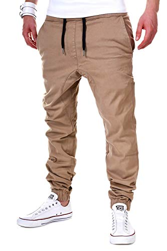 behype. Herren Chino-Hose Stretch Low Crotch Basic Jeans-Hose 80-0006 Beige L/W34
