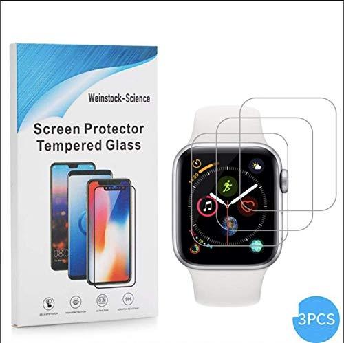 Weinstock-Science | 3X bruchsicheres Panzerglas für Apple Watch 38mm | Schutzfolie aus 9H Echt Glas Transparent
