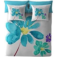 Costura Blue Blossom - Juego de funda nórdica para cama de 150 cm