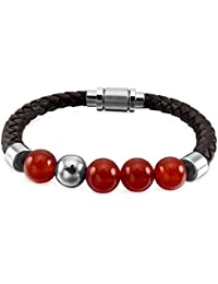 82d60db3c55 MunkiMix Stainless Steel Genuine Leather Energy Bracelet Silver Tone Brown  Stone Bead Magnetic Clasp…
