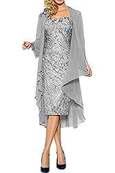 CoCogirls Mutter Hochzeitskleid Abendkleider Spitze Abendkleid Ballkleid Partykleid Hochzeit Brautmutterkleid mit Jacke (46, Silver)
