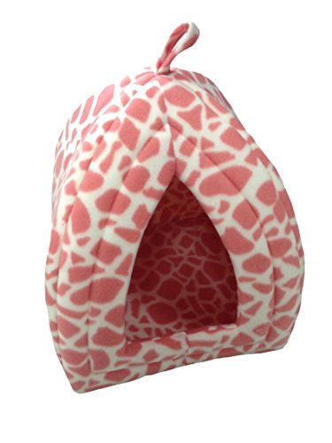 Soft Fleecy Pet Puppy Dog Cat Rabbit Igloo Triangle Safari Pink Print Hut Removable Cover