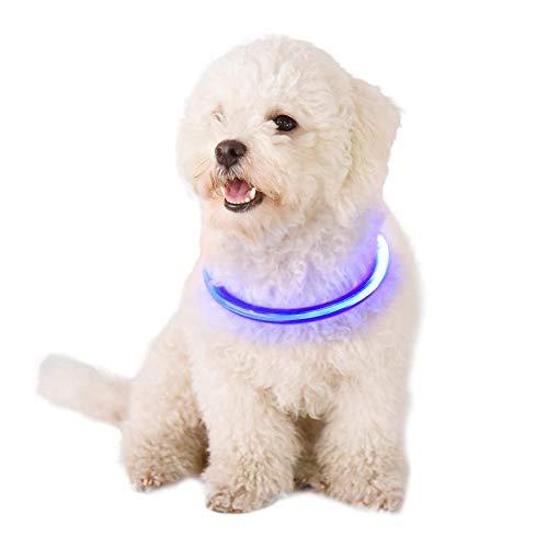CampHiking LED-Hundehalsband, leuchtendes Katzenhalsband/Haustier LED leuchten Hundehalsband/USB-Aufladehalsband/Glasfaser-Lichtemittierendes Haustierhalsband - 35 \ 50 \ 70CM - ansteckbar - Hemd Kragen Versteifungen