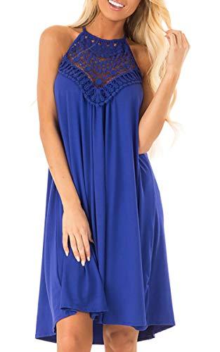Spec4Y Damen Kleider Neckholder Rückenfrei Sommerkleid Spitzen Ärmellos Partykleid Freizeitkleid Strandkleid Knielang Blau L