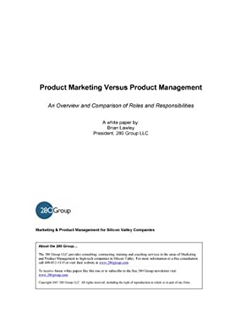 Product Marketing vs. Product Management (280 Group White Papers Book 5)