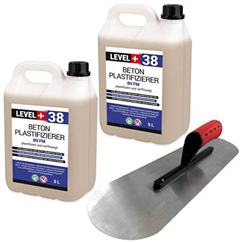 Set Beton-Zusatzmittel 10L Profi + BODENLEGERKELLE Beton Plastifizierer Fließmittel SET351