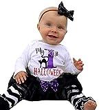 SEWORLD Baby Halloween Kleidung,Niedlich 4PCS Säuglingsbaby-Buchstabe-Spielanzug + Bein-Wärmer + Stirnband + Tutu-Rock-Ausrüstungs-Set 24 Monate