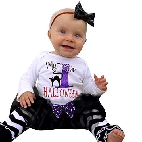 SEWORLD Baby Halloween Kleidung,Niedlich 4PCS Säuglingsbaby-Buchstabe-Spielanzug + Bein-Wärmer + Stirnband + Tutu-Rock-Ausrüstungs-Set 18 Monate