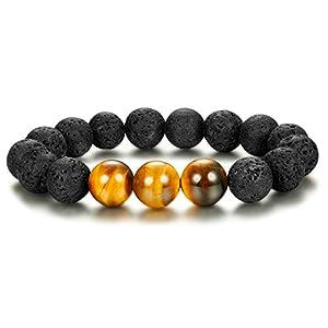 Adramata 1-3PCS 12mm Tigerauge Perlen Armbänder Lava Rock Armbänder Yoga Energie Armband elastisch