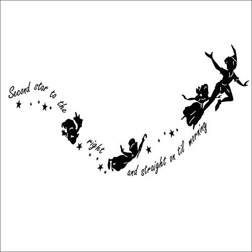 Hotportgift per bambini fairy tale little flying man peter pan second star to the right tinkerbell adesivo da parete per nursery decal (nero)