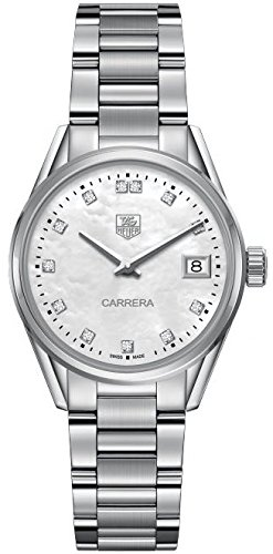 TAG Heuer Women's Carrera Diamond 32mm Steel Bracelet & Case Quartz MOP Dial Analog Watch WAR1314.BA0778