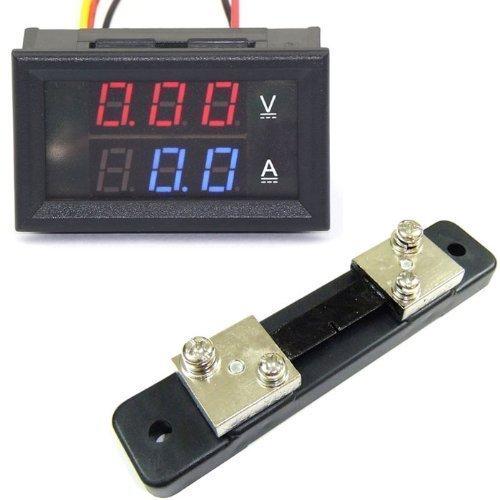 Generic YB27VA-50A Dual Display Digital Voltmeter/Ammeter, DC 0V-100V/50 Amp, +50 Amp/75mV Shunt Amperemeter Shunt