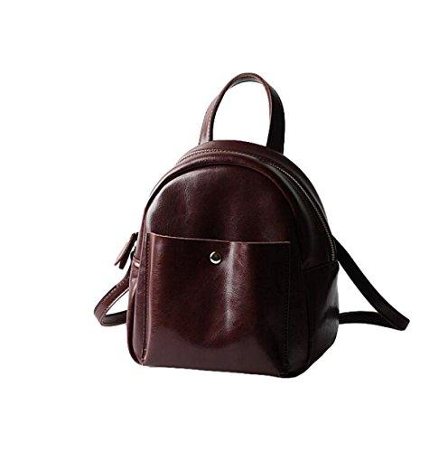 Frauen Tasche College Tasche Tasche Leder Schulter Tasche Rucksack Einfache Mode Wild Brown1
