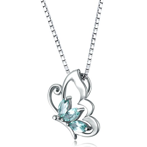 Aurora Tears Sterling Silver London Blue Topaz Sapphire Butterfly Pendant Necklace DP0014G