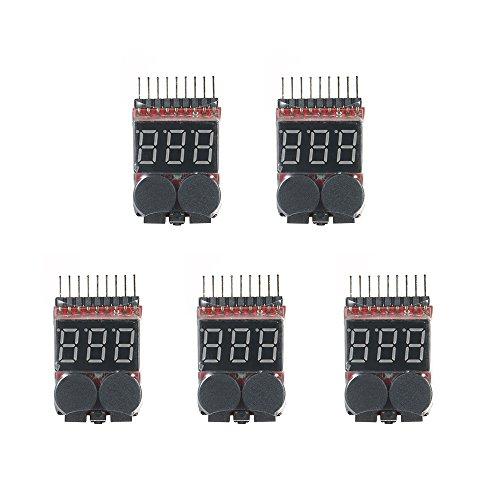 Festnight 5 stücke RC Lipo 2 in 1 Batterie Spannungsprüfer Batterie Checker Voltmeter Niederspannung Summer Alarm 1 s ~ 8 s Batterieanzeige (Strom-checker)