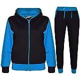 A2Z 4 Kids® Kinder Trainingsanzug Mädchen Jungen Designer Plain Kontrast - T.S Plain 101 Blue 7-8