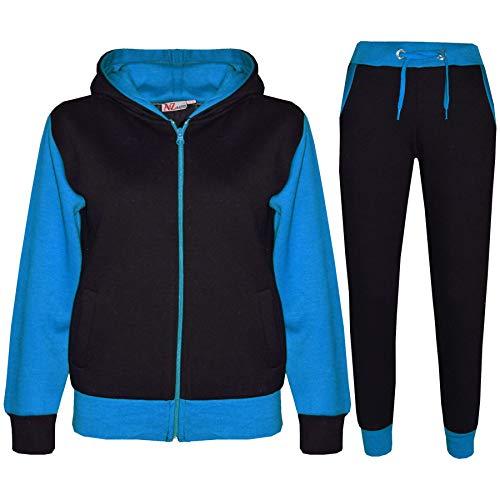 A2Z 4 Kids® Kinder Trainingsanzug Mädchen Jungen Designer Plain Kontrast - T.S Plain 101 Blue 5-6