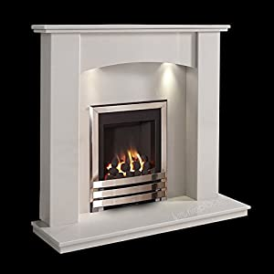 White Surround Marble Stone Gas Fireplace Suite Chrome Inset Gas Fire with Spotlights