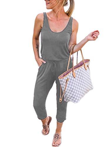 Caracilia Damen Sommer Tank Overall lässig lose ärmellose Strahl Fuß elasitic Taille Jumpsuit Strampler mit Taschen, 02-grau, M(EU40) - Damen Overalls