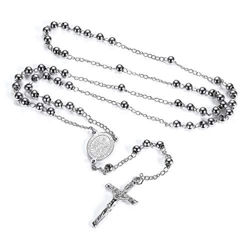 FaithHeart Rosenkranz für Damen und Herren mit Kreuz Anhänger Schutzengel Perlenkranz Silber 925 Lange Halskette aus Edelstahl Dame Kette mit Coins