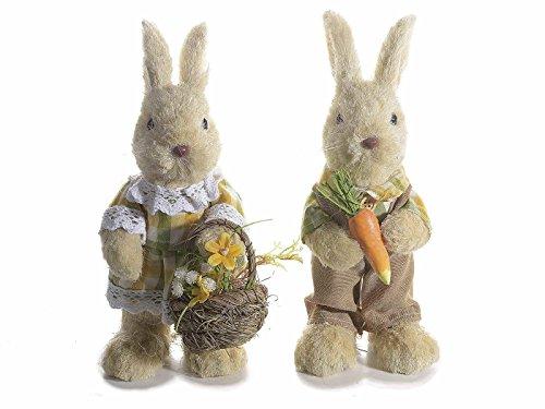 Ideapiu 2 Coniglio in Fibra Vestito in Stoffa con Carota o Cestino