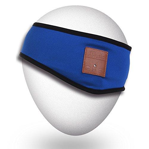 Qshell Bluetooth Stirnband mit drahtloser Kopfhörer Ohrhörer-Stereo-Lautsprecher Mic Freisprechen für Iphone, Ipad, Samsung, Sony, LG, Laptop, Tablet, Android Handys, Weihnachtsgeschenk - Blau (Sony Ohrhörer Für Ipad)